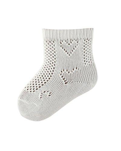 Knöchel-socke Stricken Muster (5Paar Baby/Kleinkind weiß Baumwolle Pelerine Knöchel Socken, Herz Muster-in Großbritannien hergestellt von SocksAndTights, Weiß - Weiß, 19-22,5 Baby)