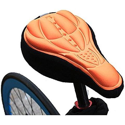 New para bicicleta almohadilla de silicona cojín de gel de sílice cubierta de sillín de suave, naranja