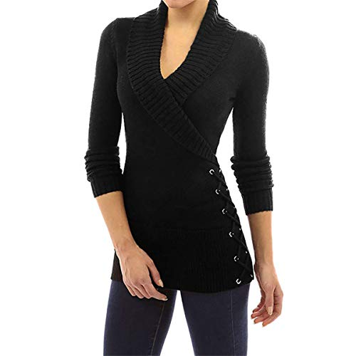 3/4 Sleeve V-neck Cardigan (B-commerce Frauen gestrickt - Wrap Front Cross V-Ausschnitt Langarm Jumper Dünne Taschen Pullover Tops Pullover)