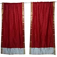 Mogul Interior 2 Indian Sari Curtain Drape Red Window Treatment Boho Home Decor 84x44