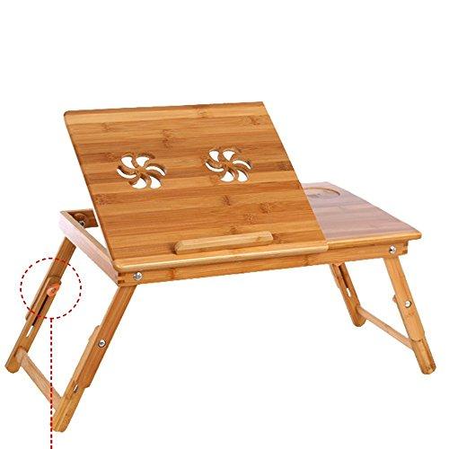 Corlorfulword 55 x 35 cm Laptoptisch Beistelltisch Knietisch Betttisch Notebook Lese Tisch aus Bambus - verstellbar Bambus (2F-55)