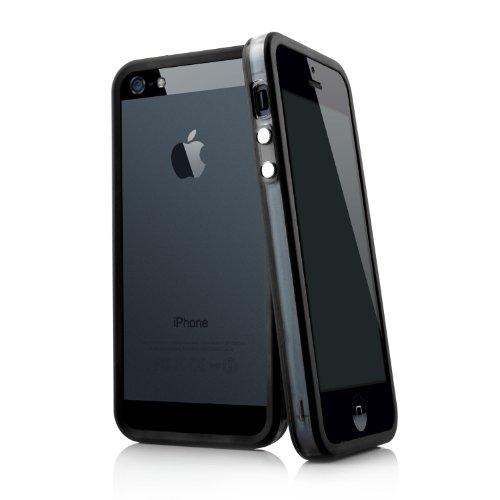 MC24 Bumper Case Cover für Apple iPhone 5 5s SE in schwarz - Schutzhülle aus PC mit TPU Dämpfern Macht den Rahmen besonders leicht und dünn - iPhoneSE Hülle Tasche Schale - Bumper Case 5 Iphone Schwarz