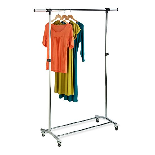 Honey can do gar-01123 Garment Rack mit verstellbar Bar und Stahl Rollen, Chrom -
