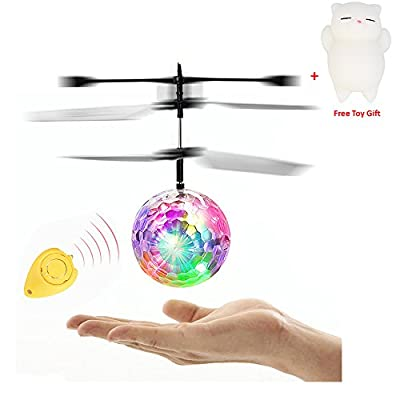 Mini Flying RC Ball, Rcool Crystal Hand Suspension Helicopter Aircraft Infrared Sensing Induction Flying Ball Drone Toy with Colorful LED Flashing Light & Remote Control by Rcool