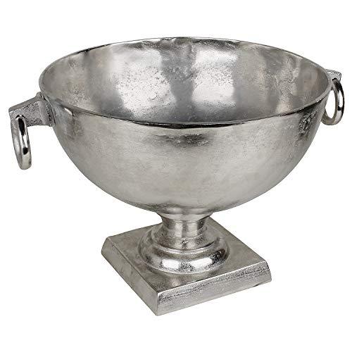 MACOSA LC191131 Sektkühler Silber rund 46 cm Metall Flaschenkühler mit Standfuß Champagner-Kühler Weinkühler groß Champagnerschale Getränkeschale