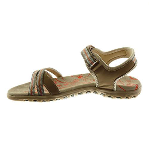 Angkorly Damen Schuhe Sandalen - Knöchelriemen - Sneaker Sohle - Bicolor - Multi-Zaum Flache Ferse 2.5 cm Beige