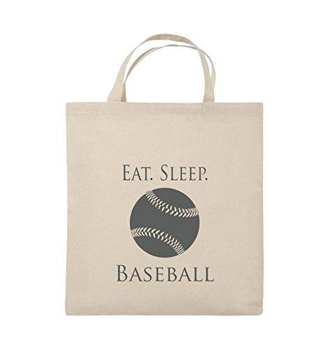 Borse Comiche - Mangia. Il Sonno. Baseball - Palla - Borsa Di Juta - Manico Corto - 38x42cm - Colore: Nero / Rosa Naturale / Grigio