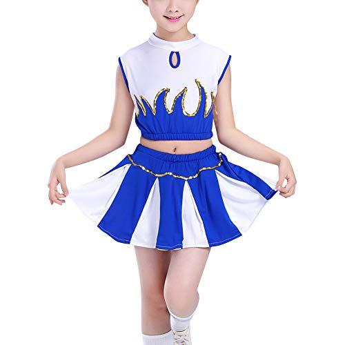 Huatime Cheerleader Kinderkostüm Karneval Fasching - Kinder Mädchen Glänzend Pailletten Outfit Uniform Oberteile Mit Minirock Sets Mode ()