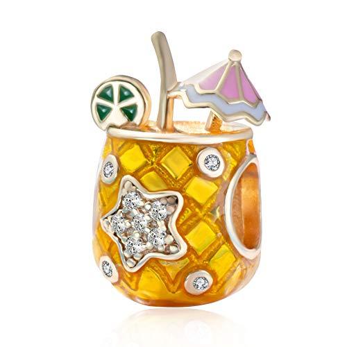 Andante-Stones 925 Sterling Silber Gold Bead Charm * Ananas Drink Glas mit Sonnenschirm und Zirkonia-Stern * Element Kugel für European Beads Modul Armband + Organzasäckchen