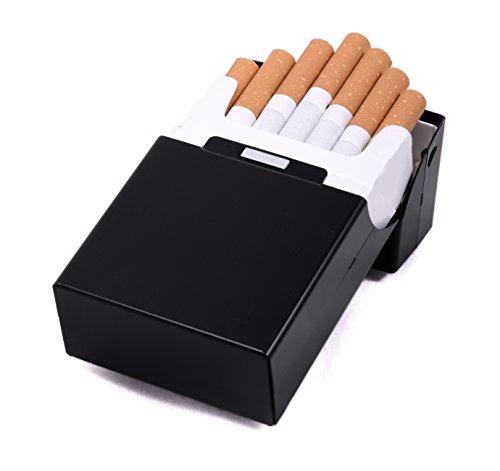 Zigarettenbox Metall Alu Zigarettentui Zigarettenschachtel Box für Zigaretten – mehrere Farben wählbar (schwarz) - 2