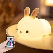 Night Light for Kids Indoor, Cute Bunny Night Lamp for Baby Children Girls Toddler, Led Nursery Night Light wi