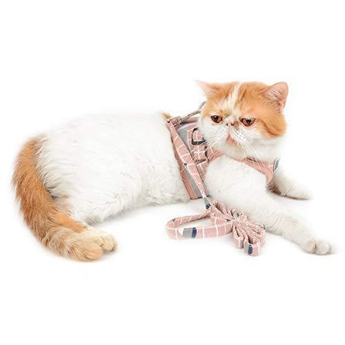 smalllee_lucky_store Hundegeschirr und Leine, für Katzen und kleine Hunde, kariert, kein Ziehen, niedliches Hundegeschirr, auslaufsicher, verstellbar, für Welpen, Kätzchen, XS, Rose -