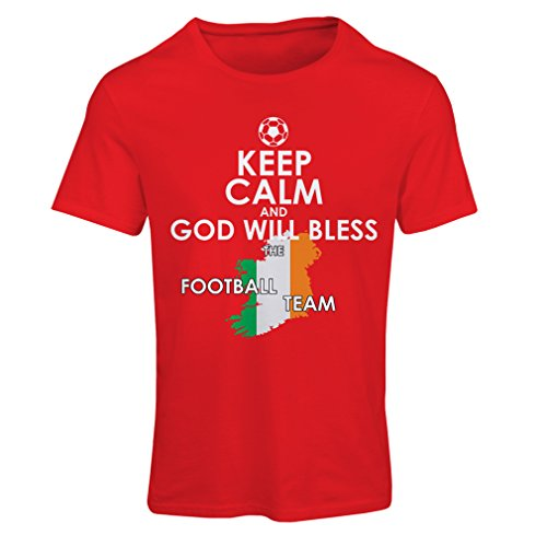 Frauen T-Shirt Keep Calm and God will Bless the Ireland national football team (Large Rot Mehrfarben) (Alaska T-shirt Fitted)