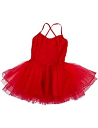 SODIAL(R) Girl Ballet Dance Dress Gymnastic Leotard Straps Tutu 5-6 Yrs (Red)