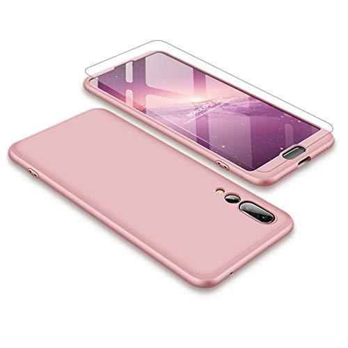 Huawei P20 Pro Handyhülle + Displayschutzfolie, LaiXin Huawei P20 Pro Hülle 360 Grad PC Plastik Hard Case Cover Fall-Abdeckung Schutzhülle mit Panzerglas - Rosegold Hard Case Cover Screen