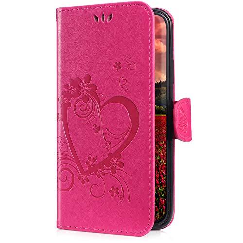 Uposao Kompatibel mit Lederhülle Galaxy Note 9 Ledertasche Hülle Vintage Tasche Herzen Blumen Muster Handytasche Leder Hülle Flip Folio Book Case mit Kartenfach Standfunktion,Hot Pink Pink Folio