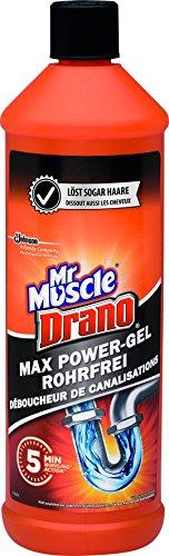Mr Muscle Flüssiger Rohr-Reiniger, Für alle Rohrarten gegen starke Rohr-Verstopfungen, 1000 ml, Mr Muscle Drano Max Power-Gel Rohrfrei