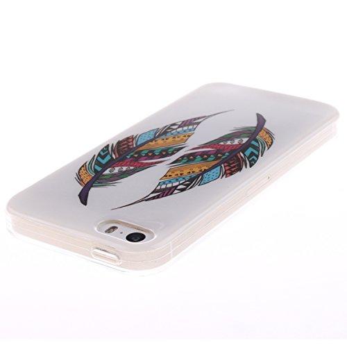 ZeWoo TPU Schutzhülle - TX018 / Ein sexy Mädchen - für Apple iPhone 5 5G 5S Silikon Hülle Case Cover TX004 / Zwei Mehrfarbenfeder