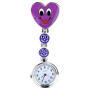 Neue Mädchen Süßes Lächeln Uhr mit Herz-Anhänger Krankenschwester Uhr Schwester Taschenuhr schönes Geschenk Lila