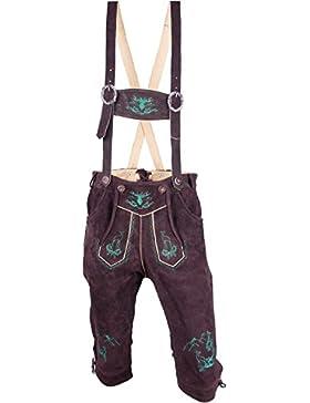 Almwerk Herren Trachten Lederhose Modell Platzhirsch in kurz und Kniebund braun grün