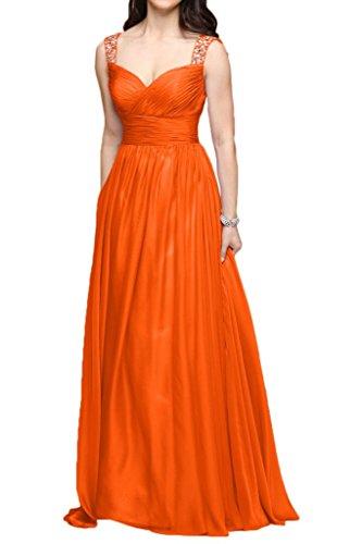 Victory Bridal Charmant Breite Traeger Chiffon Abendkleider Ballkleider Promkleider Brautjungfernkleider Lang Orange