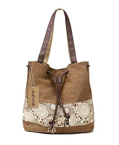Tasche Braun Stoff Handtaschen (DNFC Damen Handtasche Canvas Schultertasche Umhängetasche Damen Shopper Tasche Schöne Vintage Henkeltasche Beuteltasche (Braun))