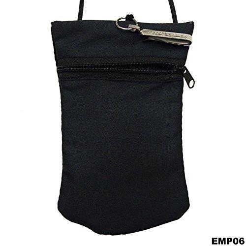 Tradizionale Ricamato Sacchetto Mobile Mini Borsa Della Moneta Sacchetto Dell'Imbracatura Soldi Portafoglio Nero