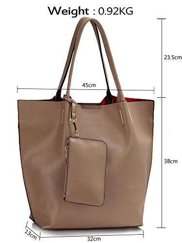 LeahWard® Damen Mode Schulter Handtasche Damen Essener Qualität Kunstleder Tragetaschen mit Herausnehmbar Beutel Modisch Handtaschen CWS00442 CWS00442 Taupe