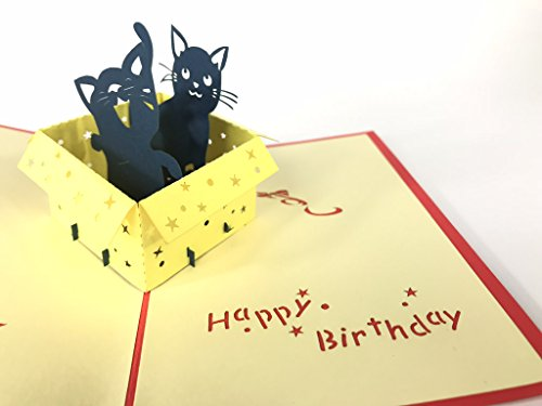 Katze Geburtstagskarte Pop Up Grußkarte Mercedes-Benz Auto Jahrestag Baby Happy Geburtstag Ostern Mutter Thank You Valentine 's Day Hochzeit Kirigami Papier Craft Postkarten -