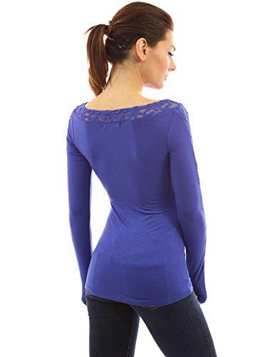 PattyBoutik Damen Häkel geblümte Spitzen Bluse mit U-Boot-Ausschnitt und langen Ärmeln Moderate Blue