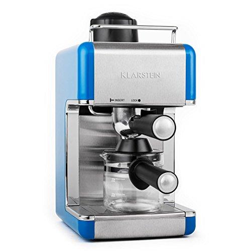 Klarstein Sagrada Azzuro cafetera espresso de acero inoxidable (800 W, 3,5 bar, acero inoxidable, para 4 tazas, desmontable, incluye jarra de cristal) - azul