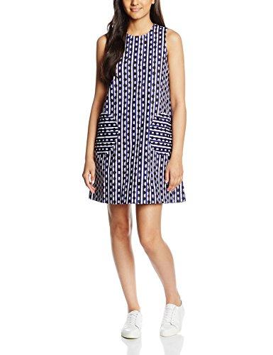 Peter Jensen Circle Pocket Dress, Robe Femme Blanc (White/Blue)