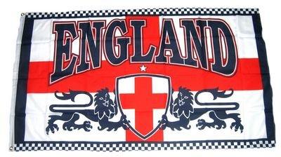 Flaggenking England - Löwe Wappen Flagge/Fahne - wetterfest, weiß, 150 x 90 x 1 cm, 16901