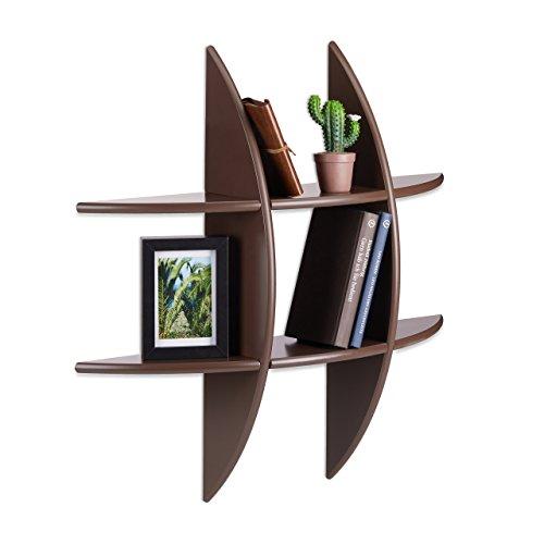 Relaxdays 10021903_93 mensola da parete 6 scomparti, forma rotonda, profondità 17 cm, porta-cd, pensile, marrone