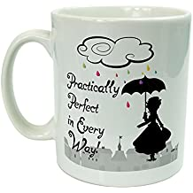 "Tazza in ceramica ispirata a Mary Poppins con testo in inglese ""Practically Perfect In Every Way"" (praticamente perfetta sotto ogni aspetto), confezione regalo - Testa In Ceramica Tazza"