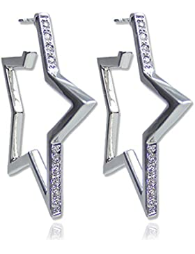 Stern Creolen mit Kristallen von Swarovski® Silber oder Gold- NOBEL SCHMUCK
