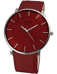 Davis 0912 - Montre Design Homme Femme Cadran Rouge Extra plate Bracelet Cuir Rouge