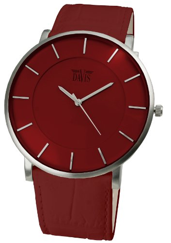 Davis Unisex Red Design Ultra thin case Red Leather strap watch