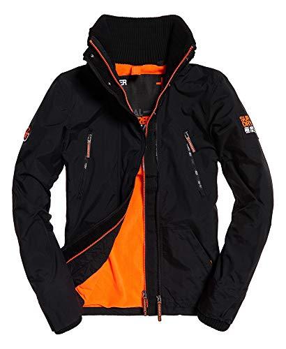 Superdry Polar Wind Attacker Veste de Sport, Noir (Black/Fluro Orange 43a), Medium Homme