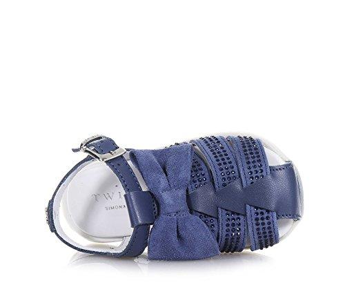 TWIN-SET – Blauer Schuh aus Wildleder und Leder, phantasievoll und modisch, mit Schnallenverschluss, auf der Vorderseite, Mädchen - 4