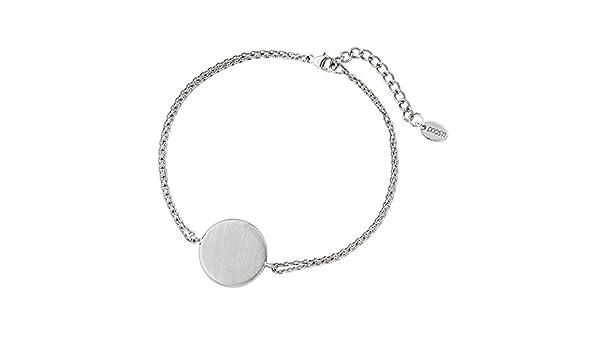DOOSTI Damen Armband mit runder Platte 925 Silber rhodiniert