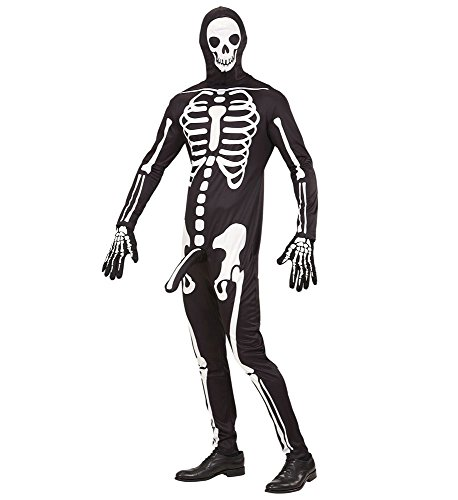 shoperama Herren-Kostüm frivoles Skelett Horny Skeleton - Lustiges Skelettkostüm Overall Halloween JGA Junggesellenabschied, Größe:L