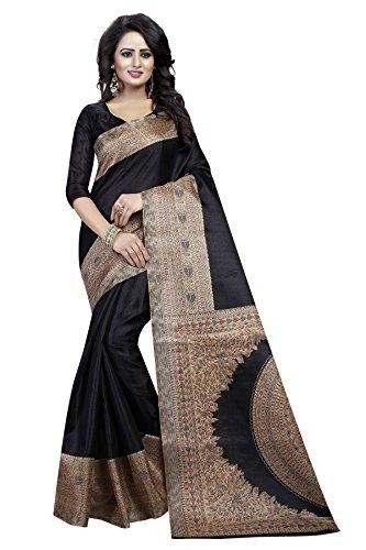 J B Fashion Women's Silk black Saree With Blouse Piece