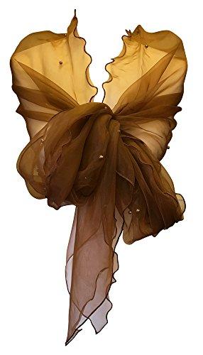 Scialle avvolgente bellissimo, lungo e con perle, da matrimonio, per sposa, damigella d'onore, da sera marrone brown