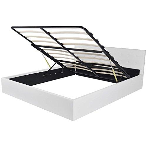 Vidaxl letto matrimoniale 180x200 cm similpelle bianco contenitore idraulico