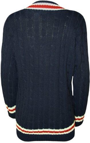 WearAll - Pull du cricket avec un col V et tricot irlandais - Pulls - Femmes - Tailles 36 à 42 Bleu Marine