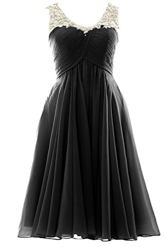 MACloth V Neck Beaded Lace Short Bridesmaid Dress Formal Evening Prom Gown Schwarz