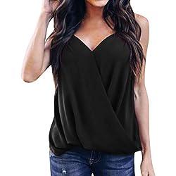 POLP Camiseta de Tirantes para Mujer Gasa Cuello en V Tank Tops Sexy Blusa sin Mangas Bohemio Chaleco Escote V Blusa Verano Playa Camisa Negro Rojo S-XXL