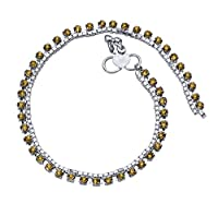 Silver Tone Anklet Bracelet with Studded Cubic Zirconia Stones (Design 2201)
