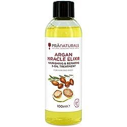 PraNaturals Aceite De Argán Marroquí Elixir Milagroso 100ml, Orgánico Triple Mezcla con Aceite de Marula y Aceita de Semillas de Girasol, Tratamiento Nutritivo para Cabello y Cuerpo